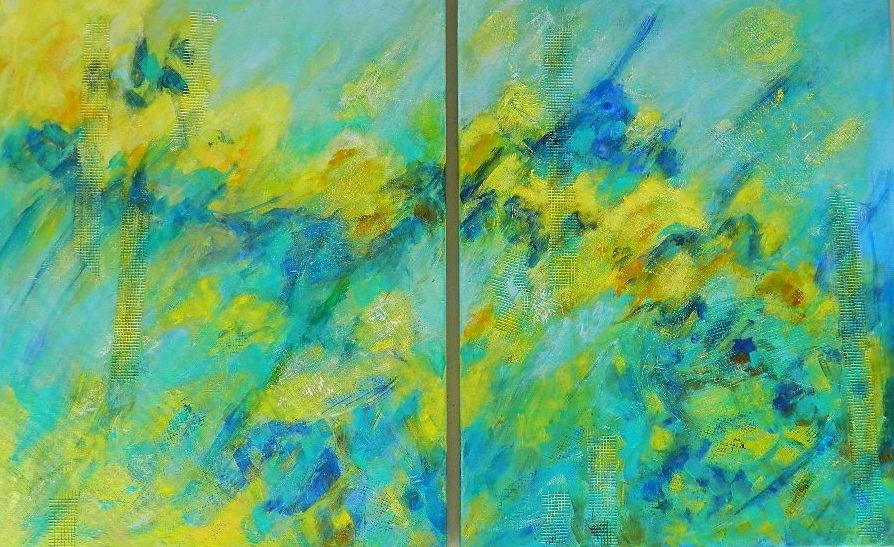 """Blue & Yellow Abstract Trip-Tic"" original fine art by Gloria Urban"