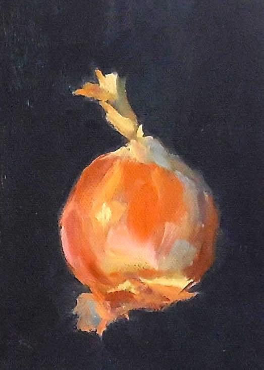 """Onion, 5x7 Oil on Canvas Still Life"" original fine art by Carmen Beecher"
