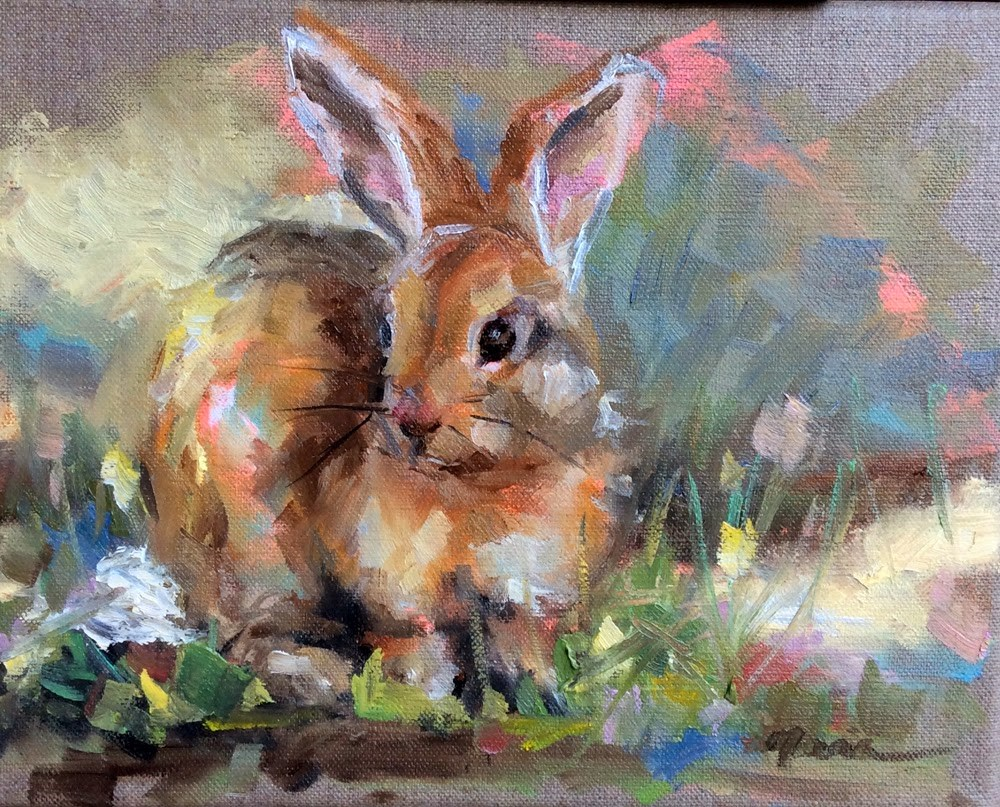 """Easter Bunny"" original fine art by Marcia Hodges"