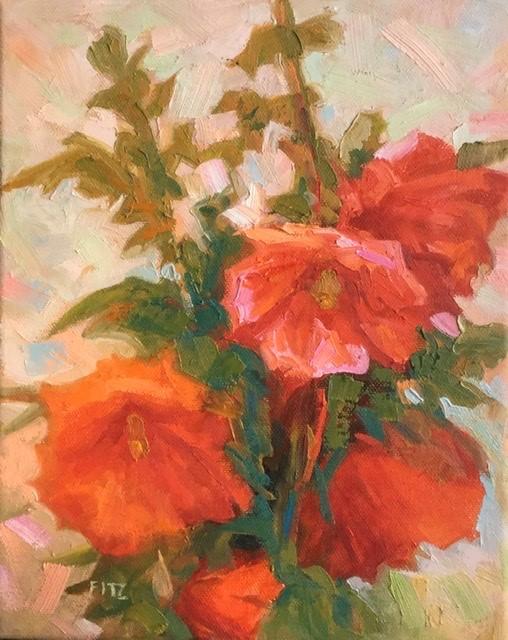 """Red Hollyhocks "" original fine art by Charlotte Fitzgerald"