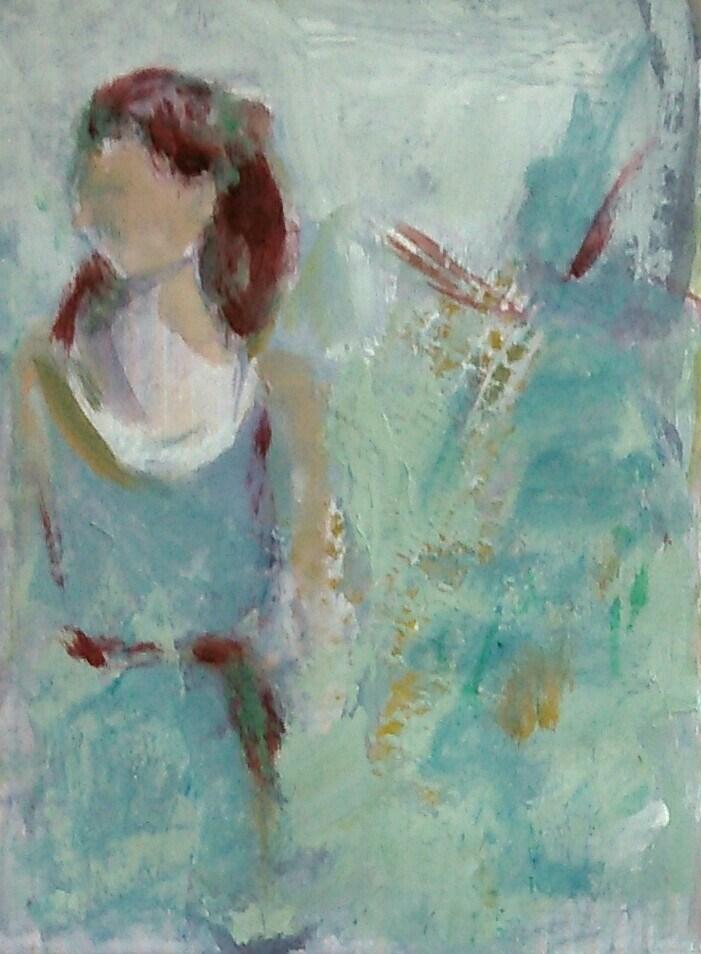 """Girl in Teal"" original fine art by Ann Rudd"