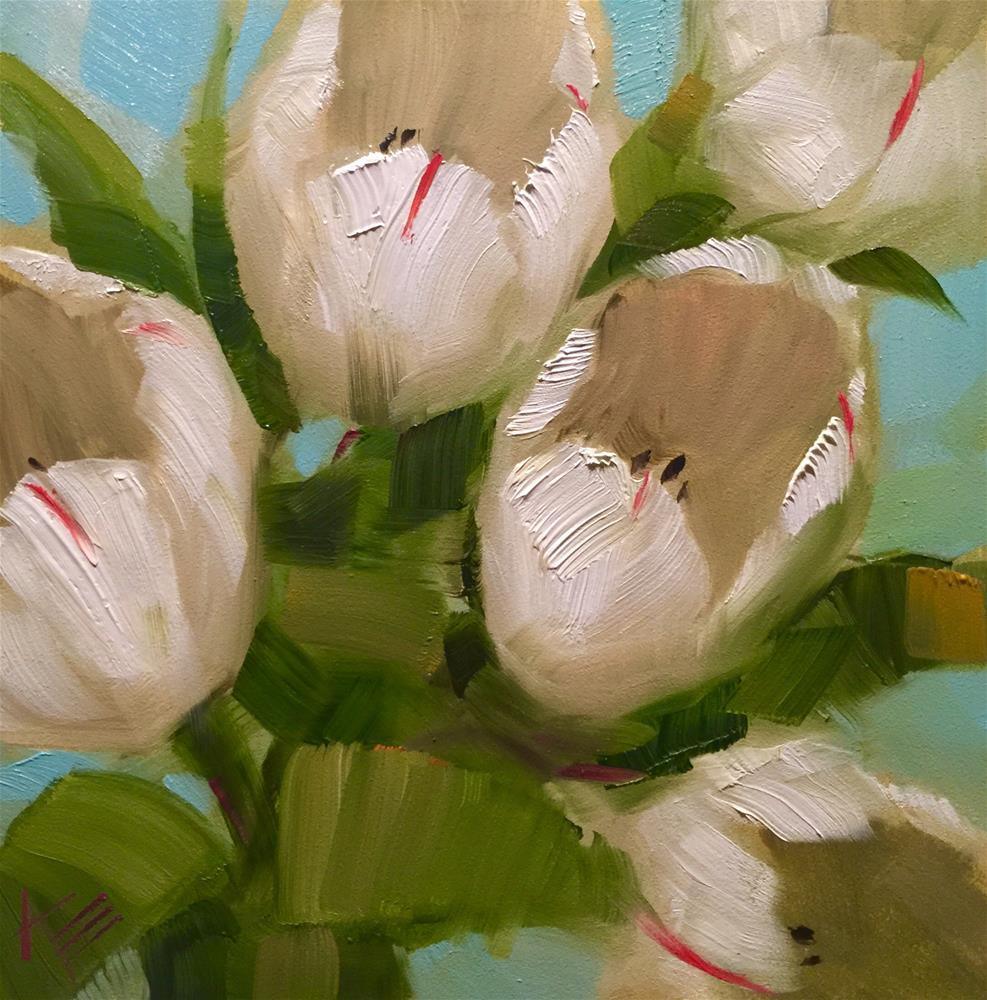 """White Tulips on Turquoise"" original fine art by Krista Eaton"