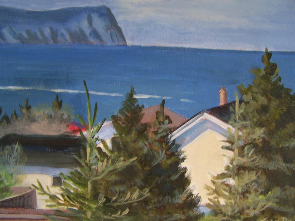 """View of the Rock Newfoundland"" original fine art by Joan Reive"