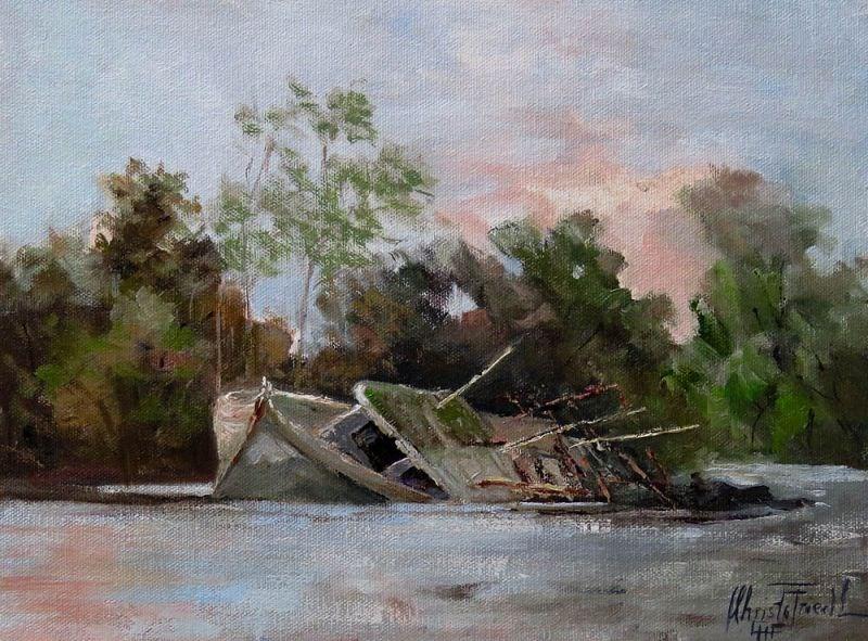 """""""Sunken Shrimpboat"""" original fine art by Christa Friedl"""