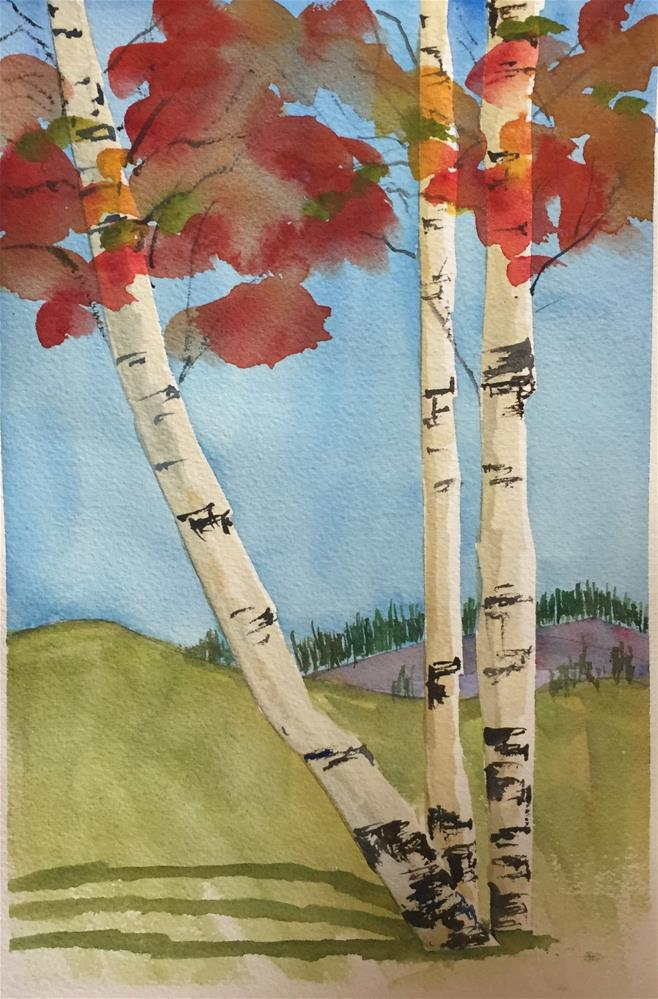 """3 Aspens in Fall"" original fine art by Renee Robison"