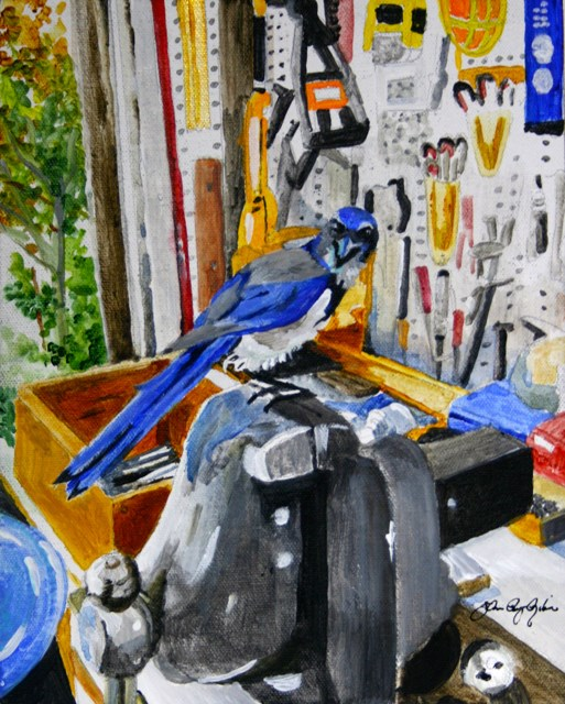 """""""Blue And His One Vice"""" original fine art by JoAnne Perez Robinson"""