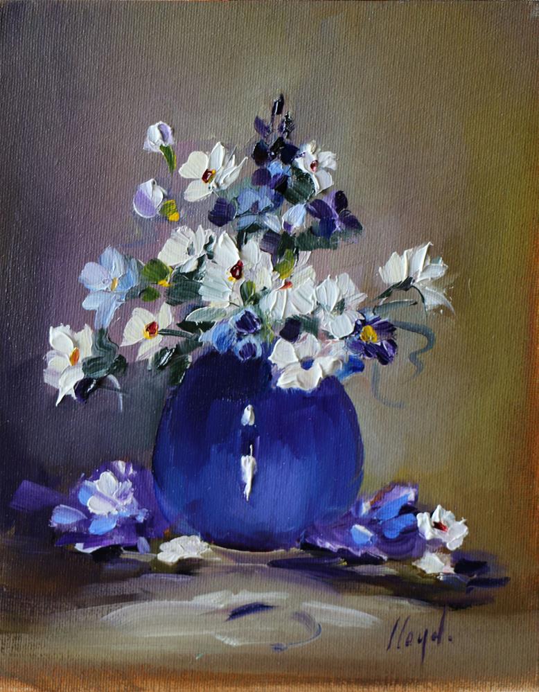 """""""Blue Porcelain Vase"""" original fine art by Diane Lloyd"""