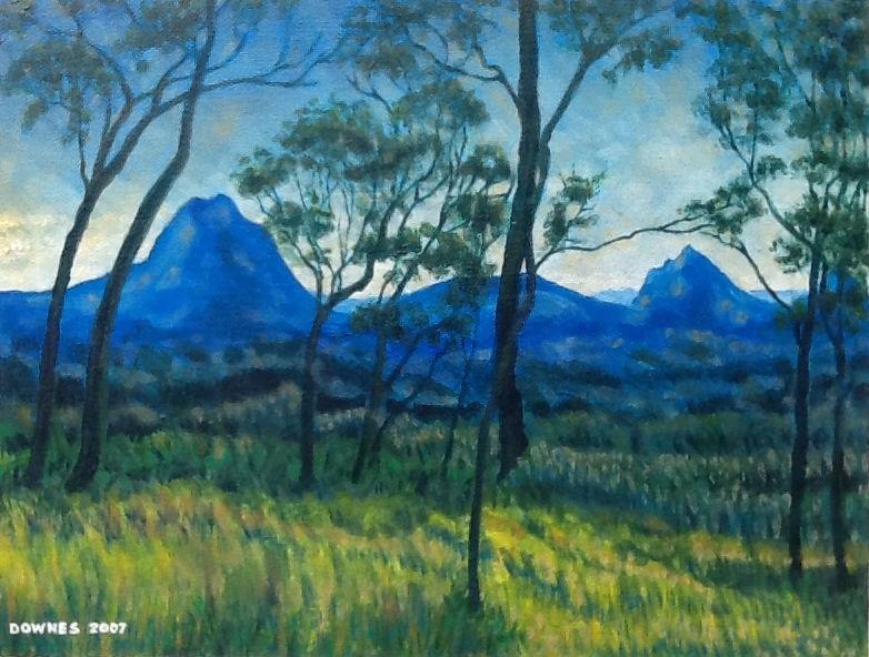 """274 GLASSHOUSE MOUNTAINS 11"" original fine art by Trevor Downes"