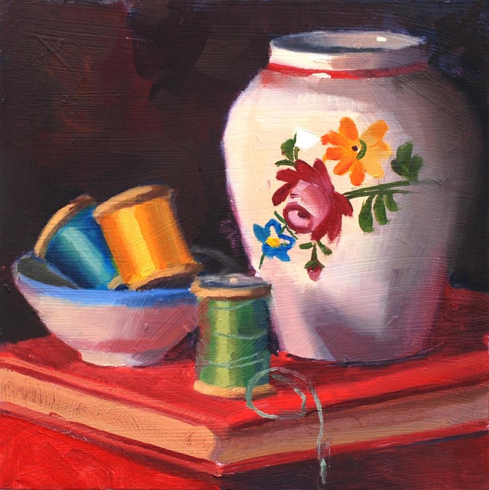 """No. 831 Spools with Little Vase"" original fine art by Susan McManamen"