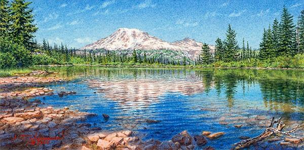 """""""""""Summer Morning ... Mt. Rainier from Bench Lake"""""""" original fine art by Steven Thor Johanneson"""