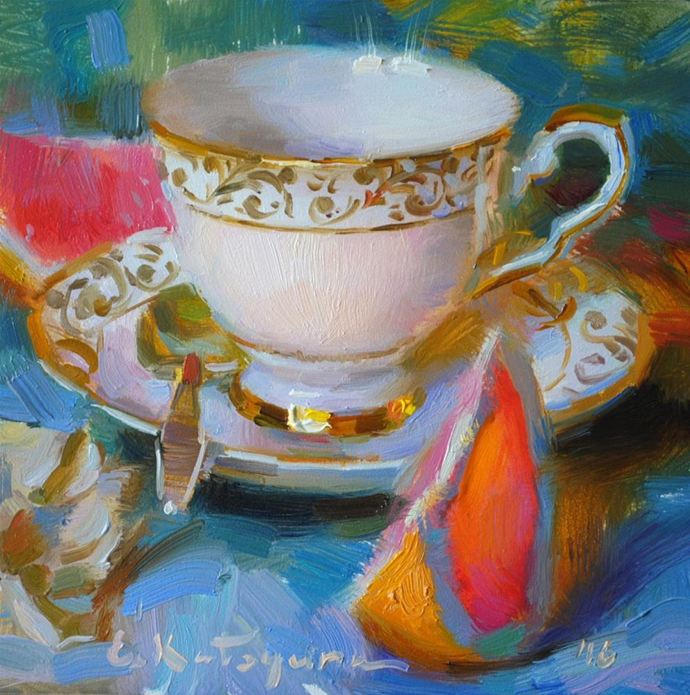 """Teacup and Grapefruit Slices"" original fine art by Elena Katsyura"