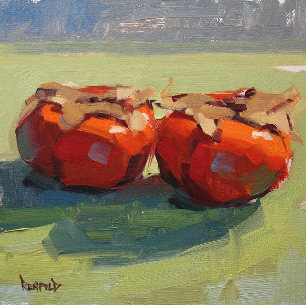 """Kissing Persimmons"" original fine art by Cathleen Rehfeld"