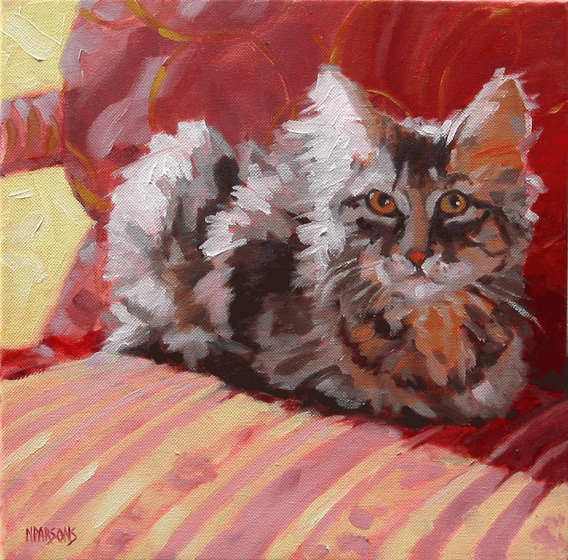 """""""SOLD-Sitt'n Purrfect"""" original fine art by Nancy Parsons"""