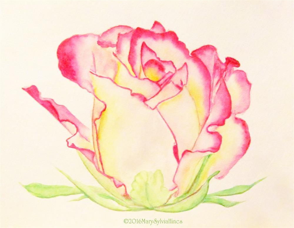 """Rose Study--Watercolor -01"" original fine art by Mary Sylvia Hines"