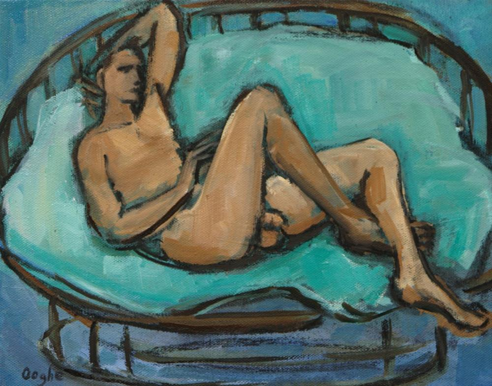 """""""Nude on Rattan Chair"""" original fine art by Angela Ooghe"""