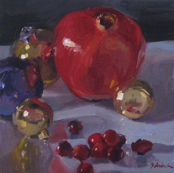 """""""Red Fruit and Ornaments"""" original fine art by Sarah Sedwick"""