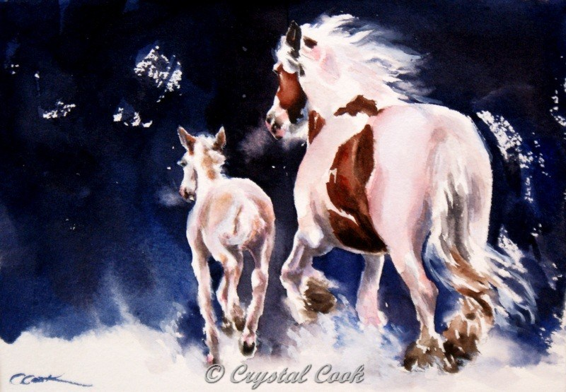 """Silent Night"" original fine art by Crystal Cook"