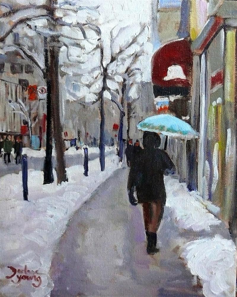 """""""991 Montreal Winter Scene, The Umbrella, 8x10 oil on board"""" original fine art by Darlene Young"""
