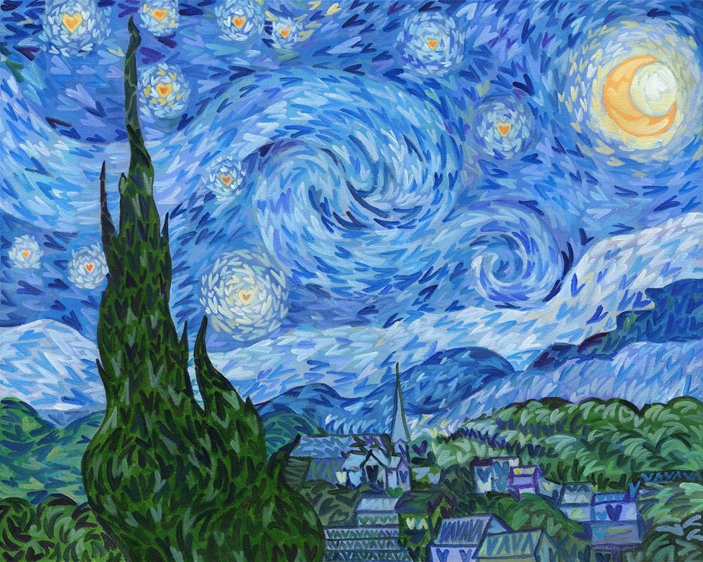 """I ♥ The Starry Night"" original fine art by Randal Huiskens"