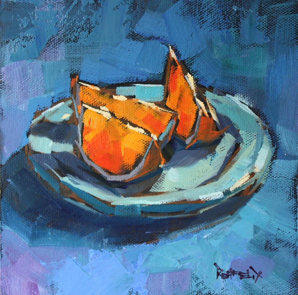 """Blues and Oranges"" original fine art by Cathleen Rehfeld"