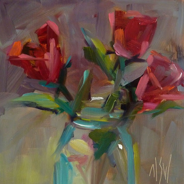 """""""Tropical Roses 6x6 oil on panel. This is the Girls Just Wanna Paint challenge for February"""" original fine art by Mary Sheehan Winn"""