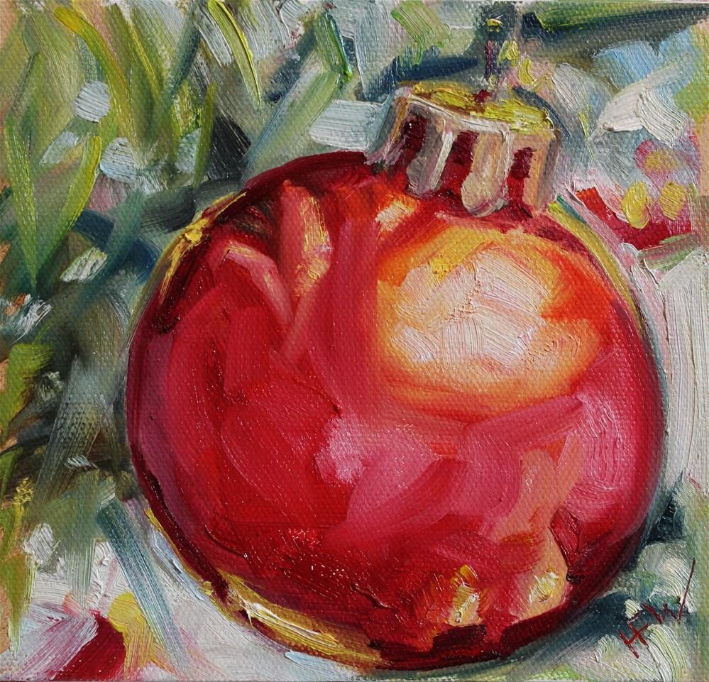 """Red Christmas Bulb"" original fine art by H.F. Wallen"