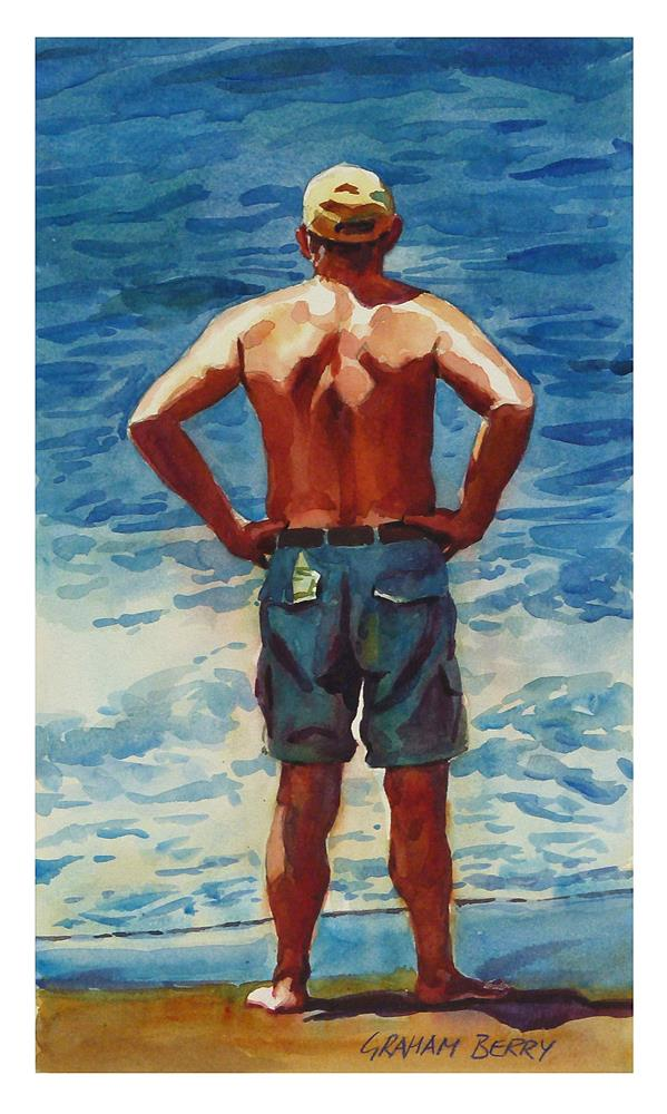 """""""Man looking out to sea"""" original fine art by Graham Berry"""