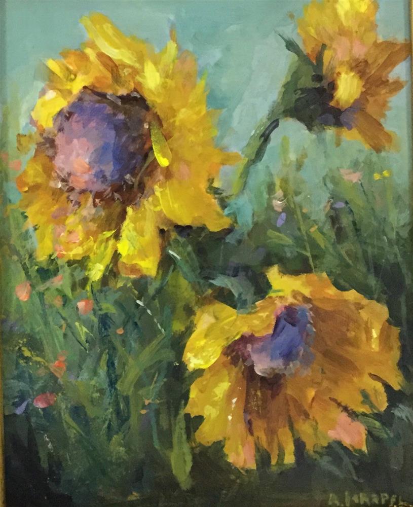 """Original acrylic sunflower garden flower painting"" original fine art by Alice Harpel"