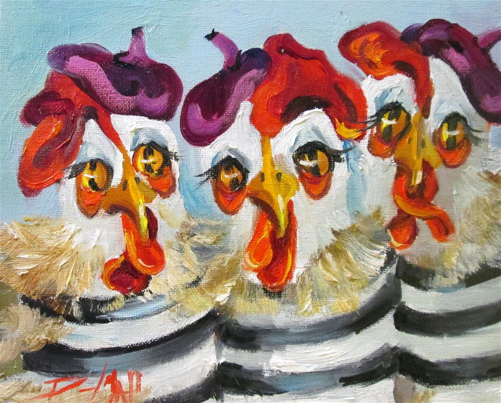 """Three French Hens"" original fine art by Delilah Smith"