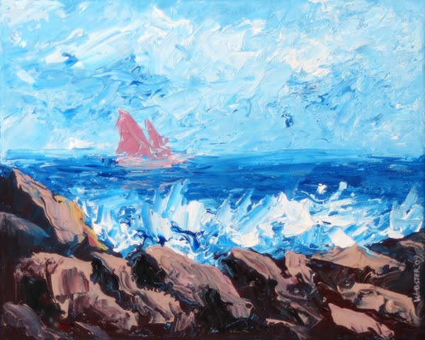 """Mark Webster - Abstract Sailboat Entering the Bay Acrylic Painting"" original fine art by Mark Webster"