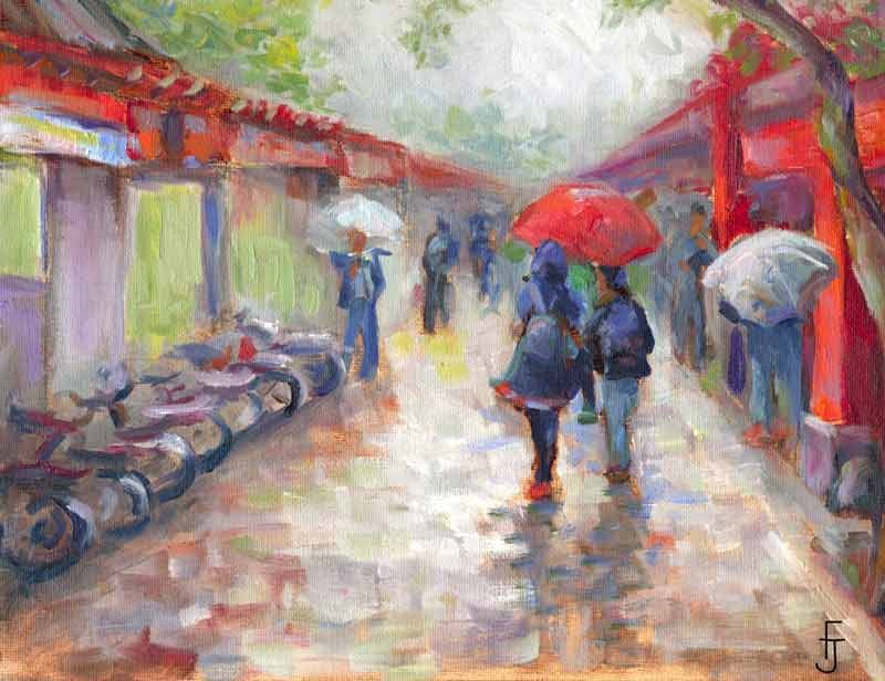 """A Walk in the Rain"" original fine art by Francine Dufour~Jones"