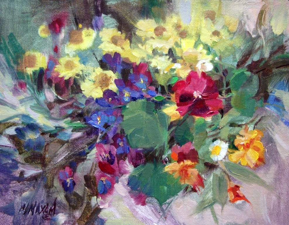 """""""Flower Tangle - a small, colorful, floral still life"""" original fine art by Mary Maxam"""