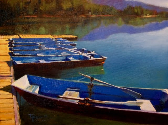 """""""Row Boats on Clear Lake oil landscape painting, White Pass, Washington"""" original fine art by Robin Weiss"""