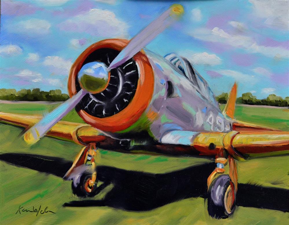 """""""Vintage Plane"""" original fine art by Karen Weber"""
