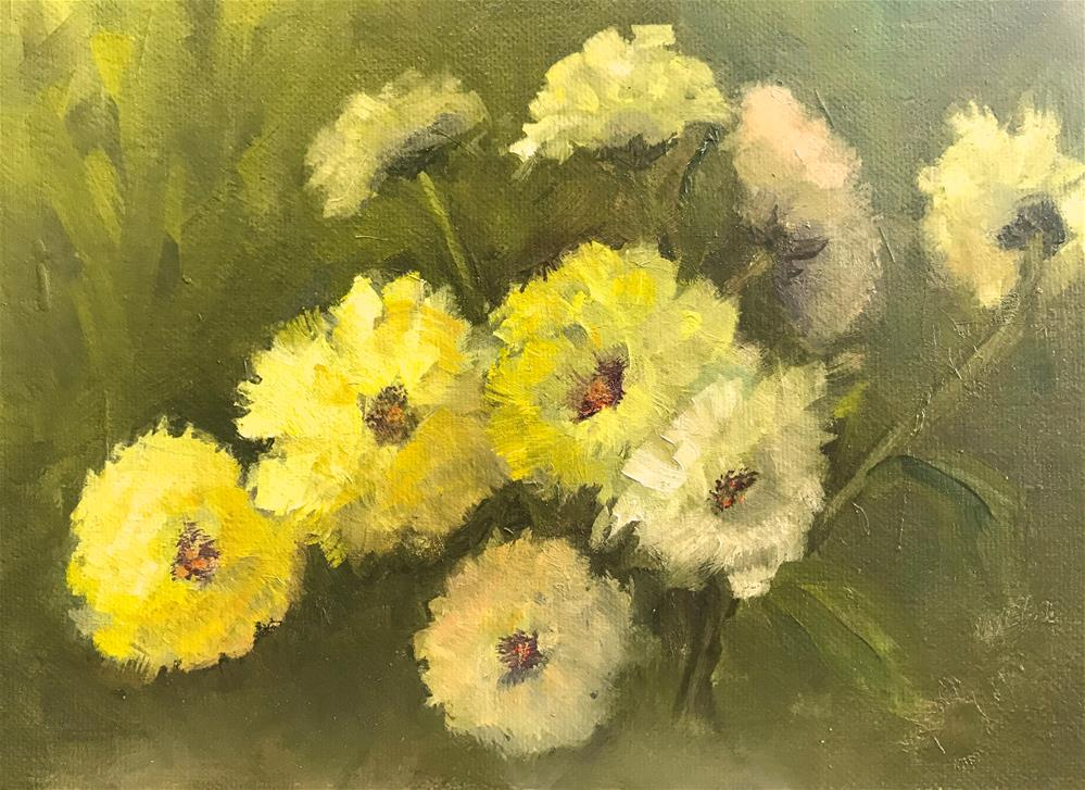 """Mostly yellow flowers"" original fine art by Betty Argiros"