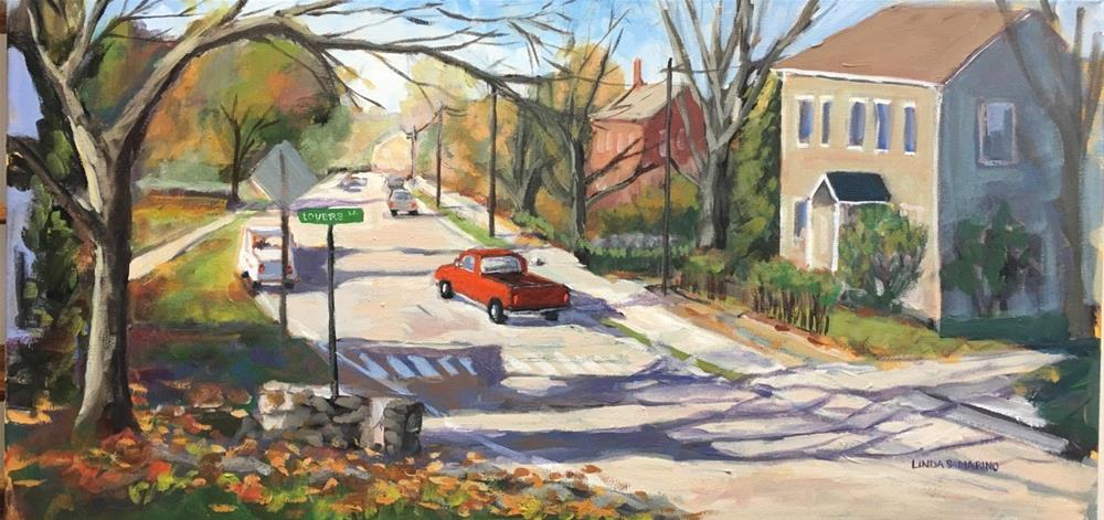 """Autumn Stroll Down Lovers Lane  Guilford, CT"" original fine art by Linda Marino"