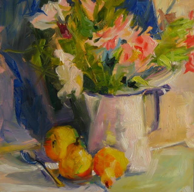 """""""Still life with Flowers and Pears"""" original fine art by Robin Weiss"""