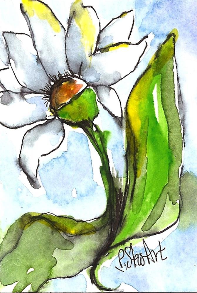 """ACEO White Flower #1, Original art, Watercolor & Pen Illustration by P StewArt"" original fine art by Penny Lee StewArt"