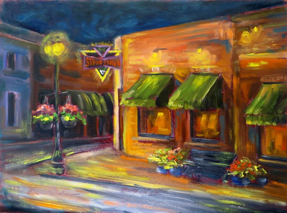 """""""Evening at Stone Canyon Pizza"""" original fine art by Tammie Dickerson"""