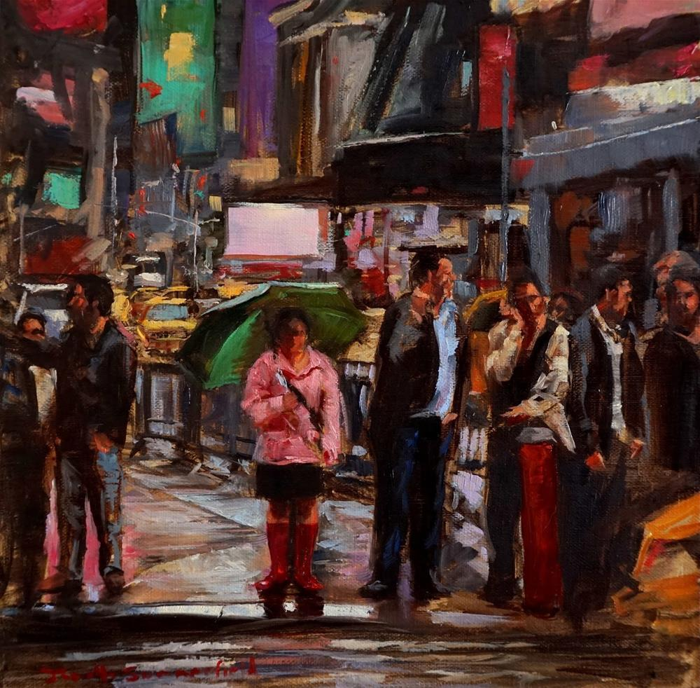 """""""Crossing Times Square"""" original fine art by Jonelle Summerfield"""