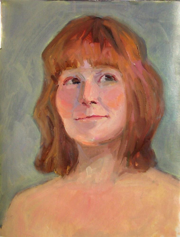 """Model with Auburn Hair,portrait,oil on canvas,16x12,priceNFS"" original fine art by Joy Olney"