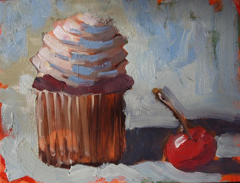 """""""A cup of cake with a cherry"""" original fine art by Rick Nilson"""