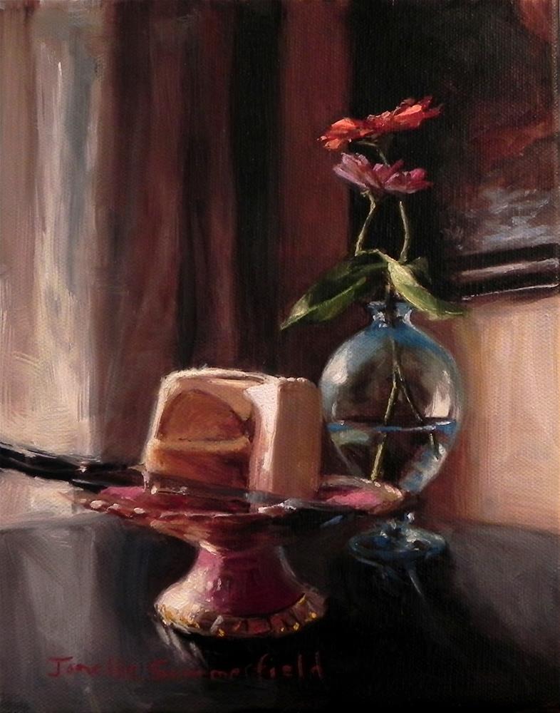 """Cake and Zinnias"" original fine art by Jonelle Summerfield"