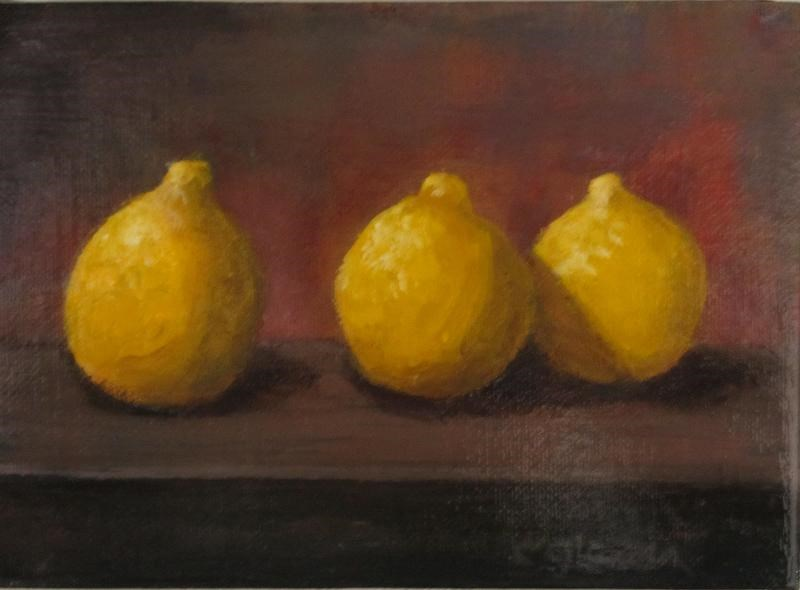 """Three Little Lemons"" original fine art by christina glaser"