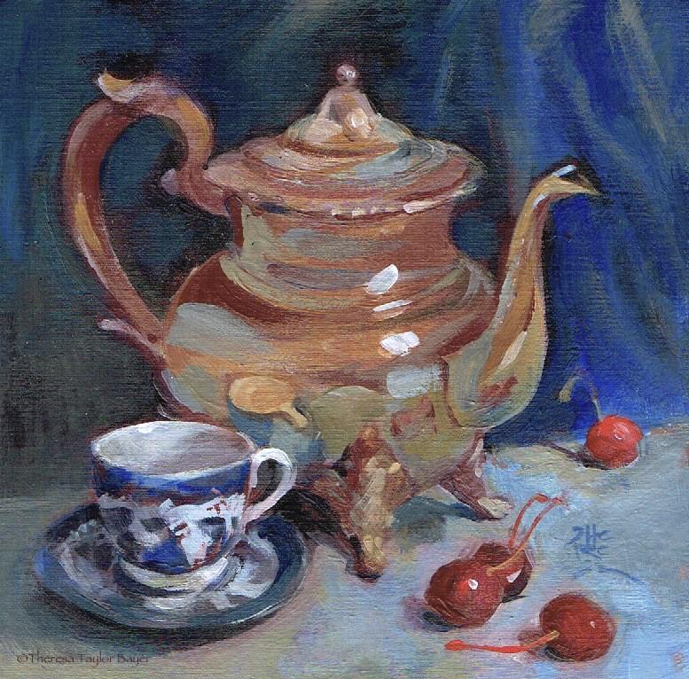 """""""Brass Teapot - Theresa Taylor Bayer"""" original fine art by Theresa Taylor Bayer"""