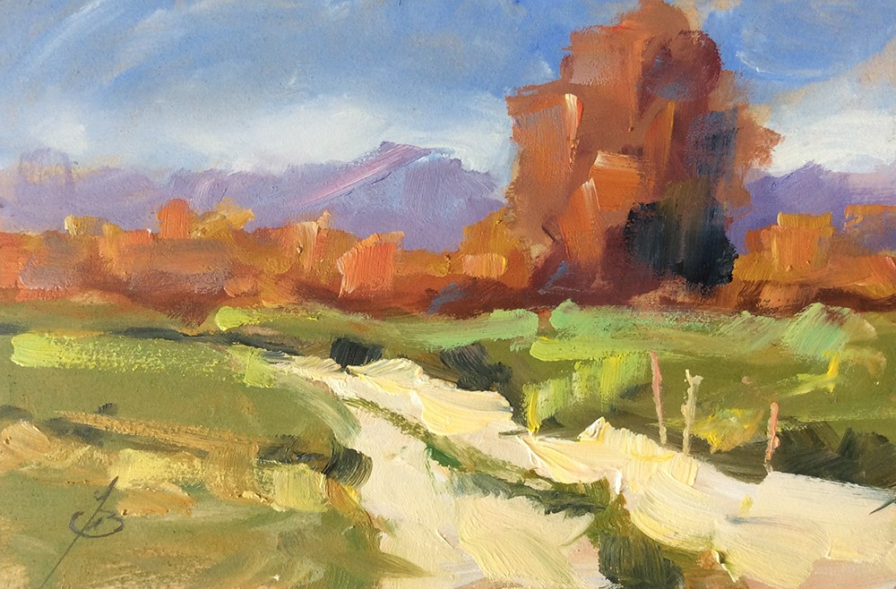 """LANDSCAPE WITH MOUNTAINS AND TREES"" original fine art by Tom Brown"