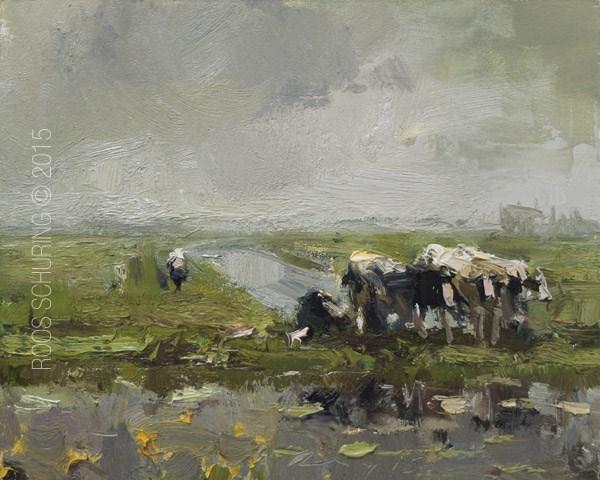 """Cows in Rain – Koeien"" original fine art by Roos Schuring"