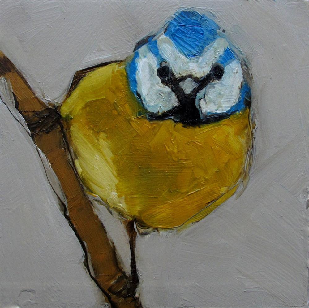 """BLUE TIT BIRD Original FOLK WHIMSICAL Art Colette Davis Art Painting OIL"" original fine art by Colette Davis"