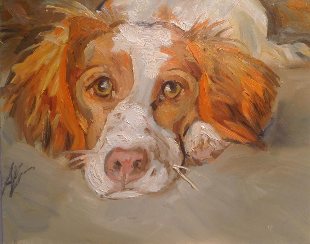 """Freckled puppy Nose"" original fine art by Annette Balesteri"