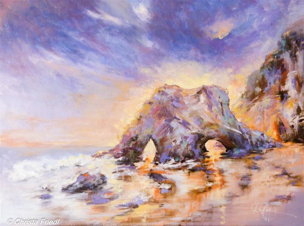 """""""Sunset El Matador Beach"""" original fine art by Christa Friedl"""